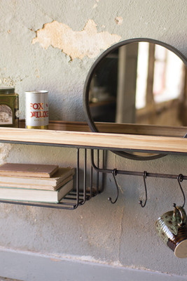 WOODEN SHELF WITH WIRE BASKET