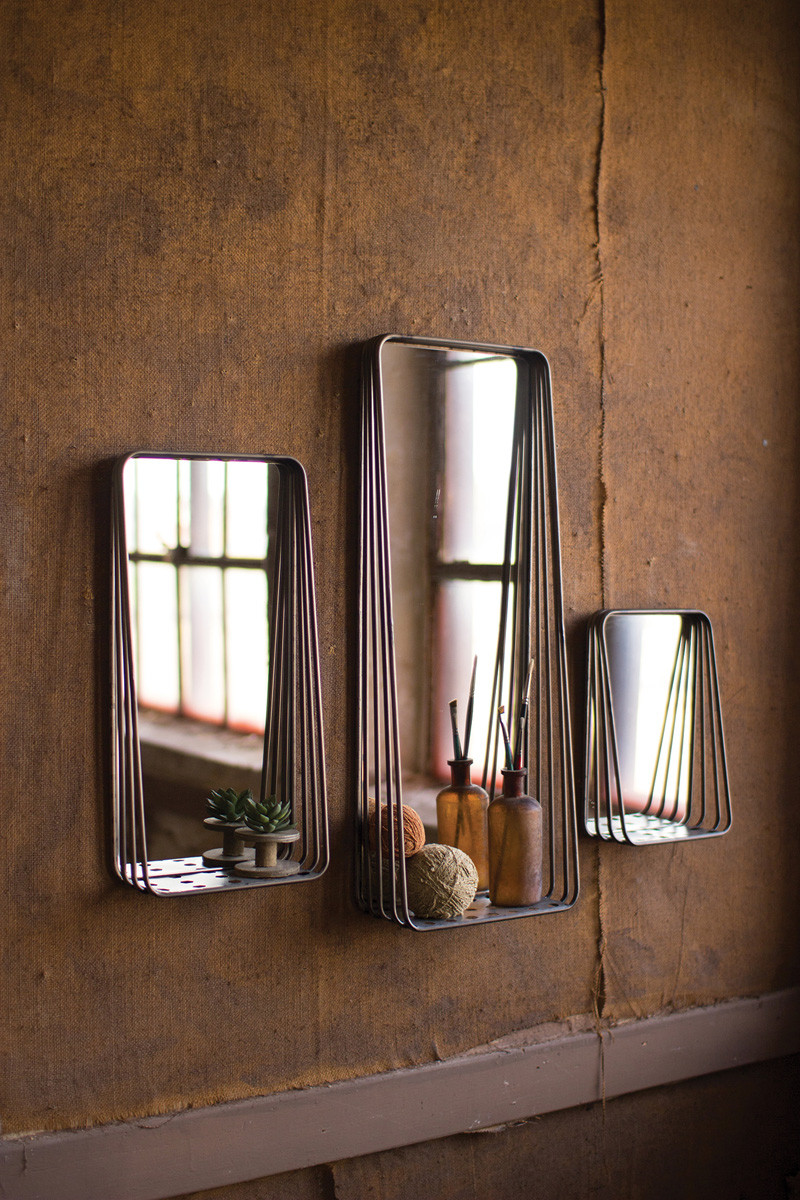 TALL METAL FRAMED MIRRORS WITH SHEL