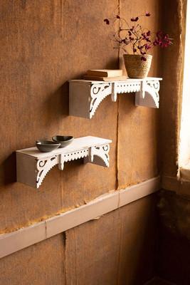 Set of 2 Victorian Millwork Wooden Wall Shelves
