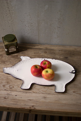 WHITE AND BLACK TIN PIG TRAY