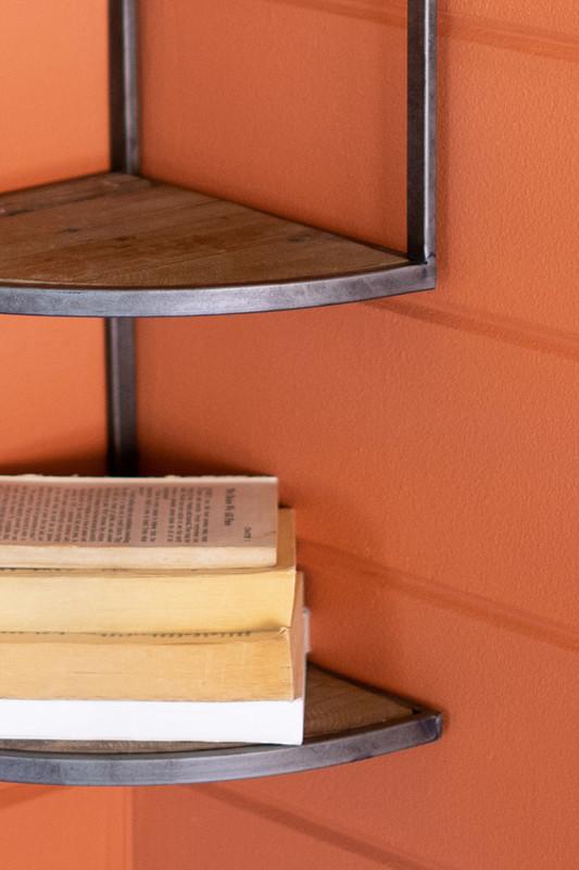 Corner Metal and Wood Wall Shelf
