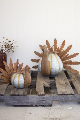 RUSTIC GALVANIZED PUMPKIN TURKEYS