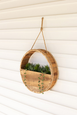 Circular Recycled Wood Wall Planter with Rope Hanger