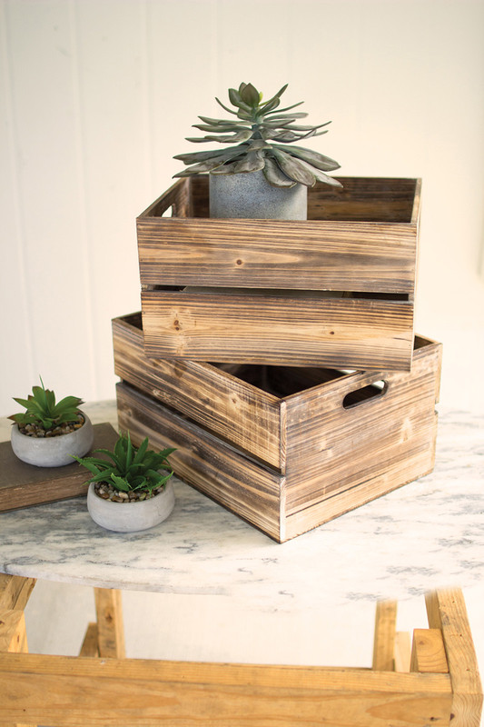 set of 4 wooden slatted boxes