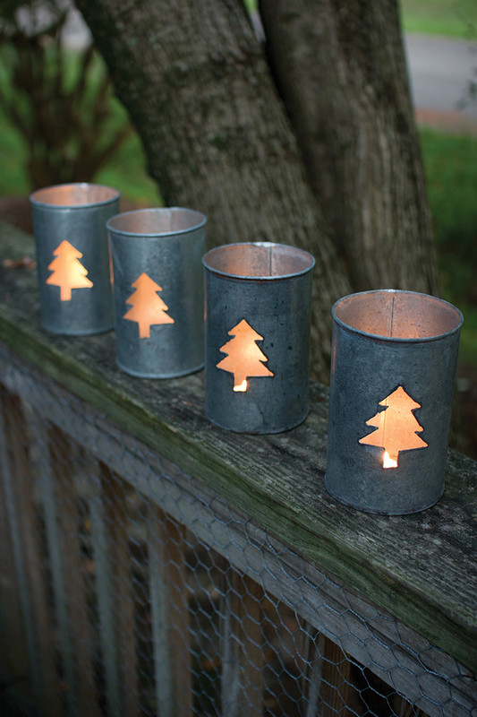 SET OF 4 TIN CHRISTMAS TREE LUMINARIES