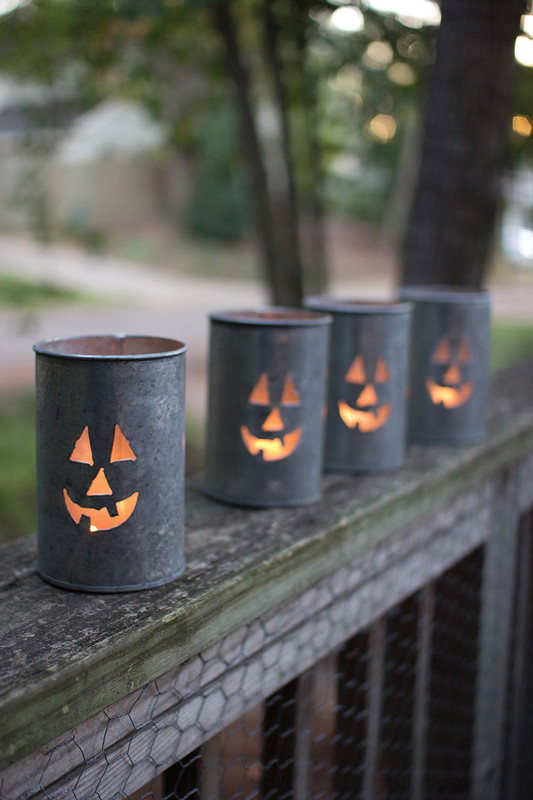 jack-o-lantern tin luminary
