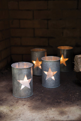 set of 4 tin star luminaries