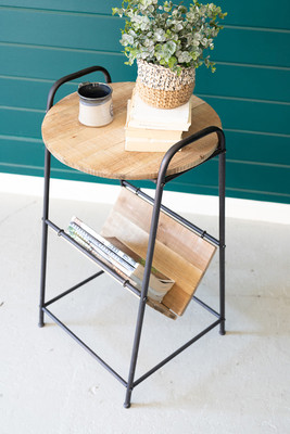 Rustic Side Table with Magazine Rack