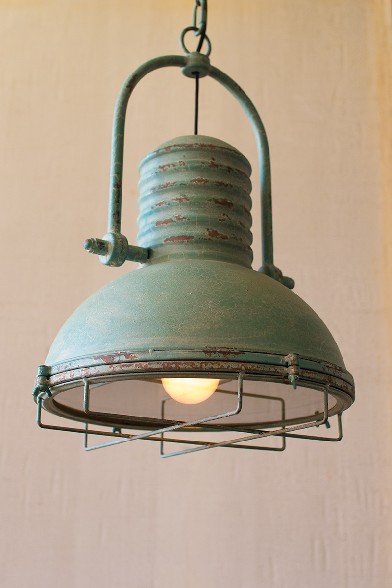 Antique Turquoise Pendant Light With Glass And Wire Cage