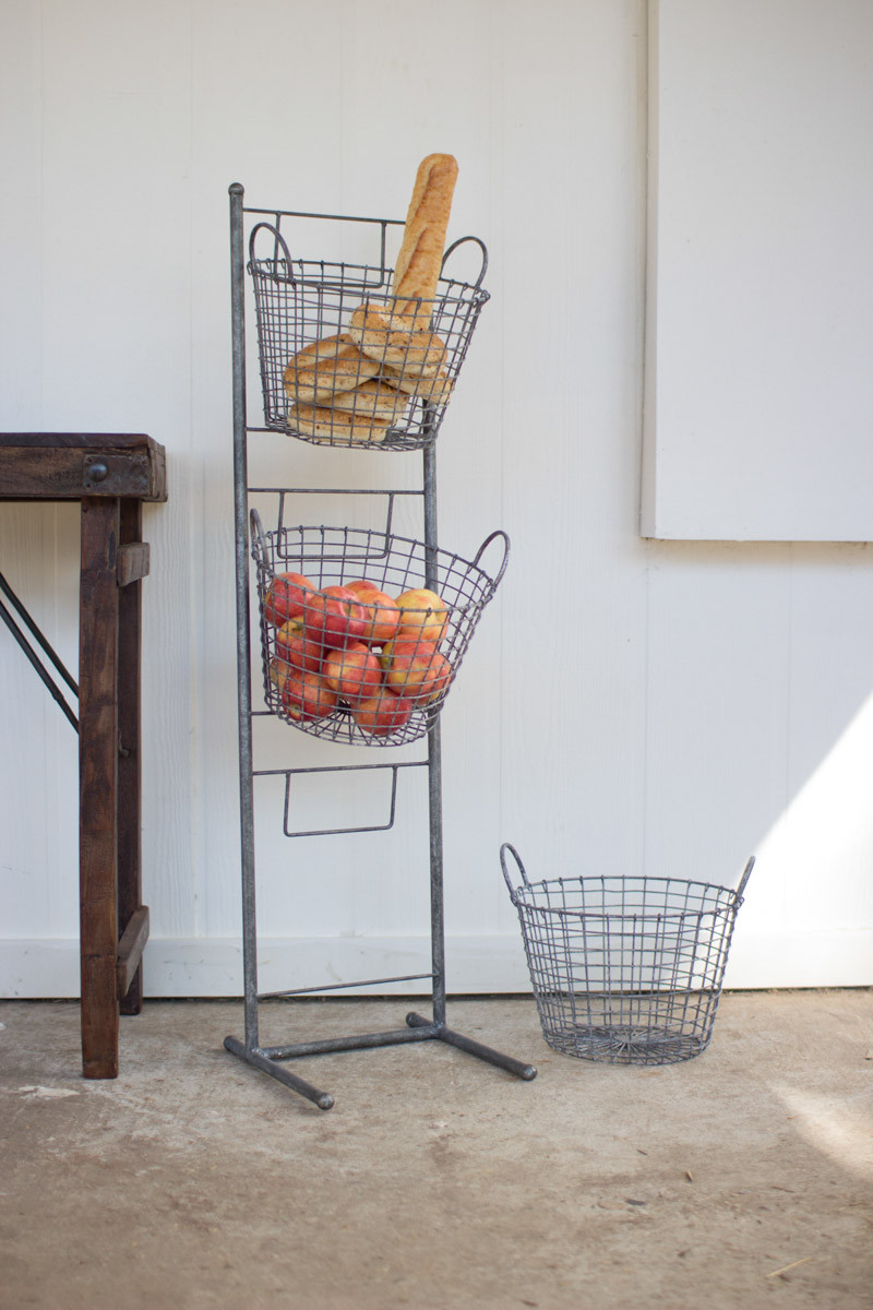 Three Tiered Wire Basket Display