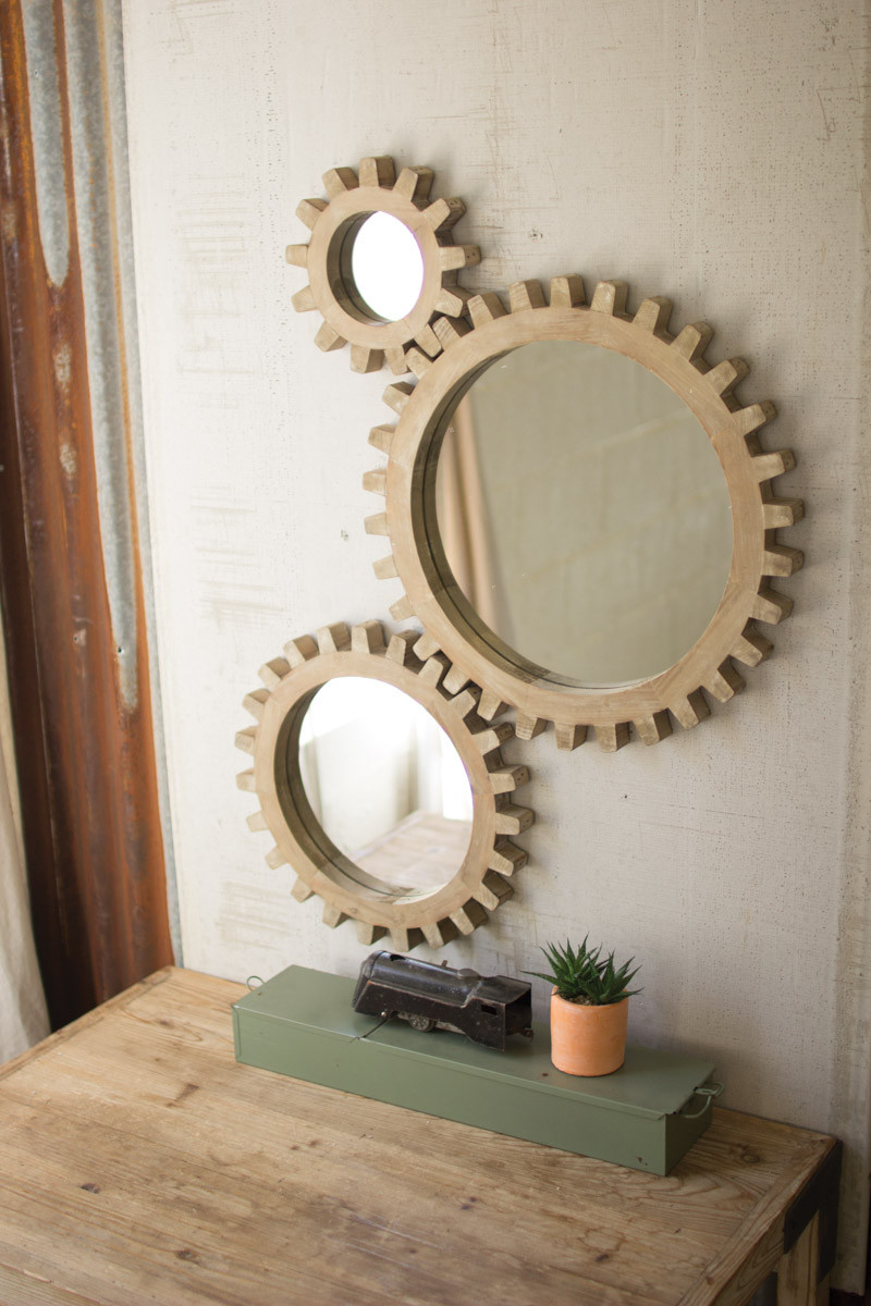 set of 3 wooden gears mirrors. Black Bedroom Furniture Sets. Home Design Ideas