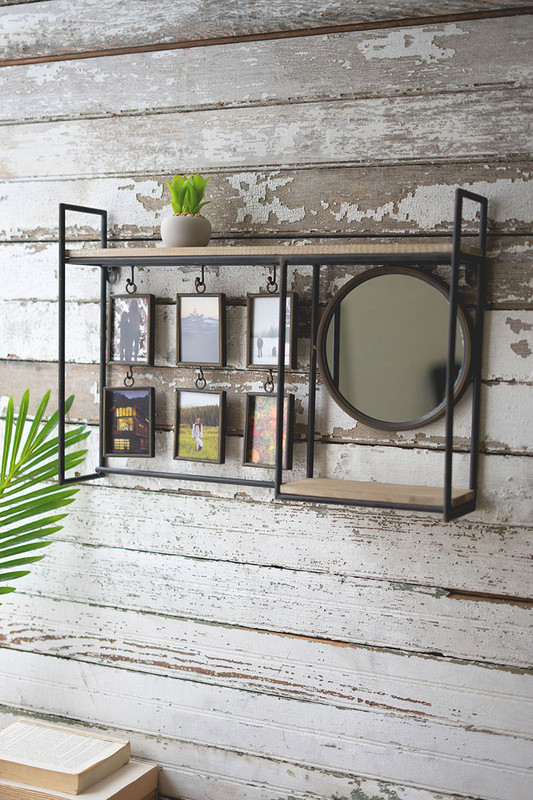 Memory Shelf with Mirror and Six Photo Frames