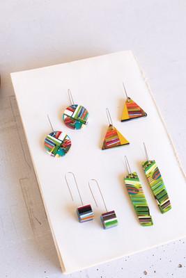 Set of 4 Geometric Acrylic Earrings
