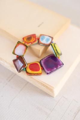 Colorful Enameled Acrylic Bracelet