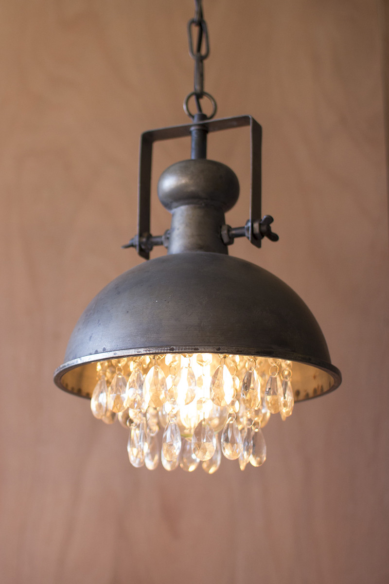 Metal Pendant Lamp With Hanging Gems