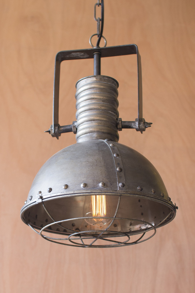 Metal Warehouse Pendant Light With Cage
