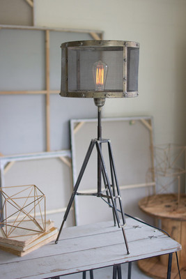 table lamp with wire mesh shade