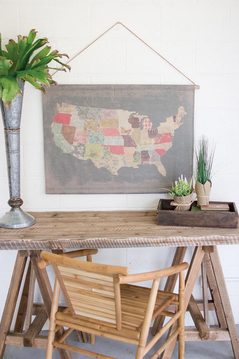 cotton blend banner patchwork USA map
