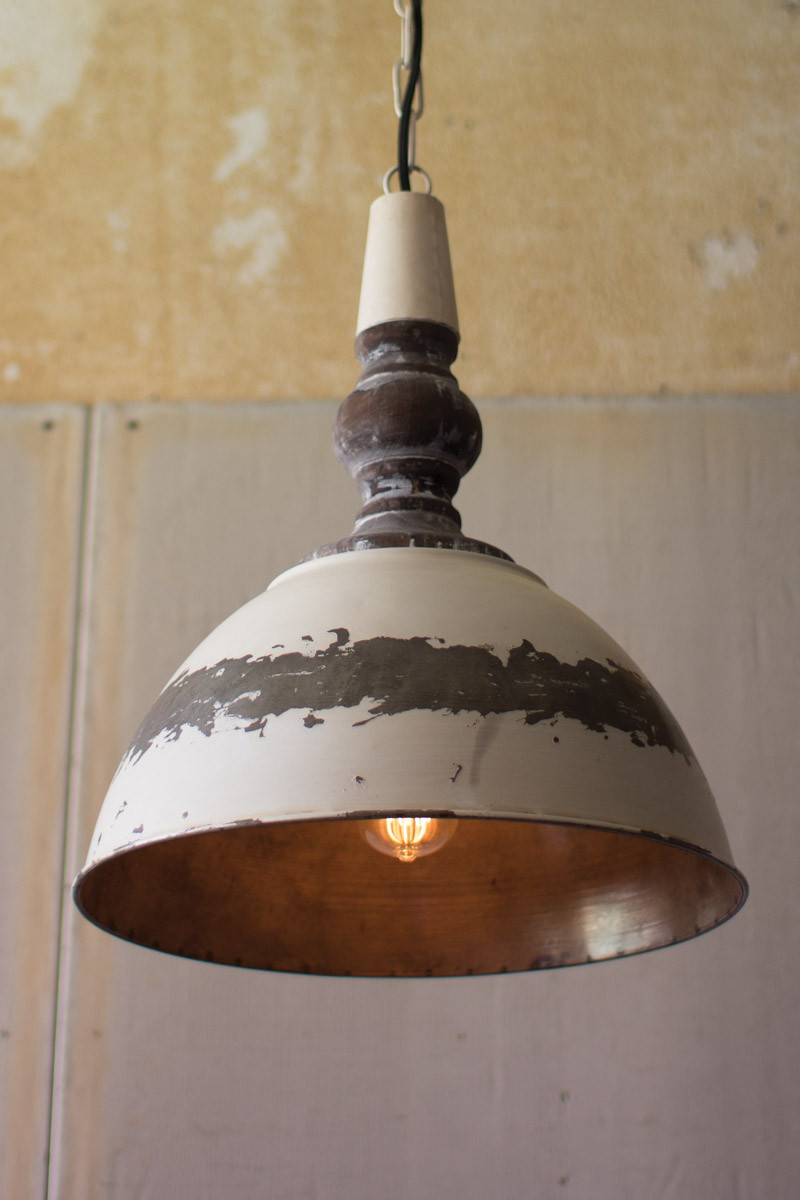 ANTIQUE BUTTERMILK METAL PENDANT