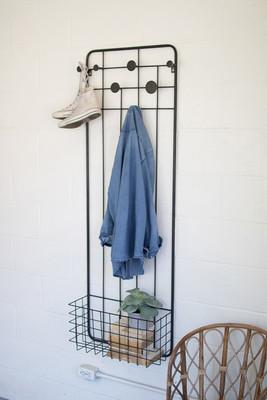 Metal Wall Coat Rack with Storage Basket