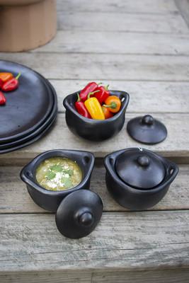 Set of 4 La Chamba Pottery Covered Soup Bowl