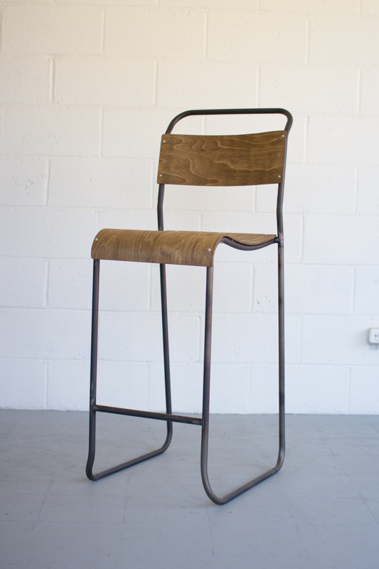 schoolhouse barstool with molded plywood seat
