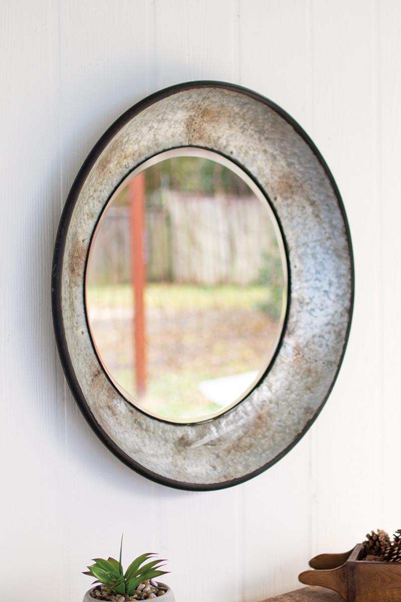 Large Round Natural Metal Mirror