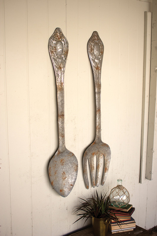 set of 2 large metal fork and spoon