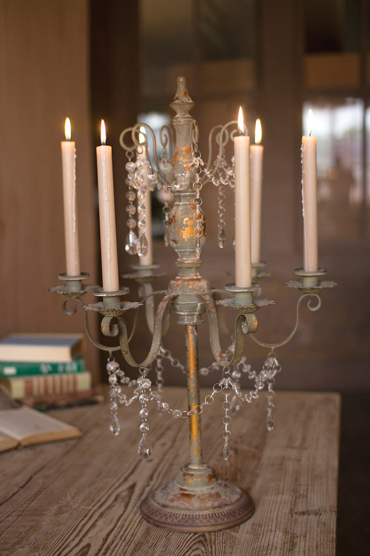 metal candelabra with beaded detail