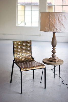 antiqued gold faux woven metal chair