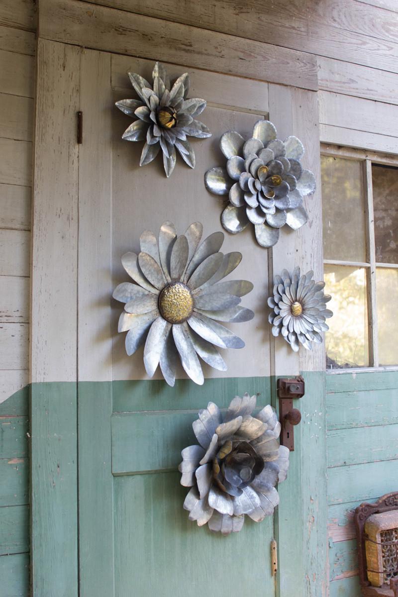 Metal Wall Flowers set of 5 metal flower wall hangings