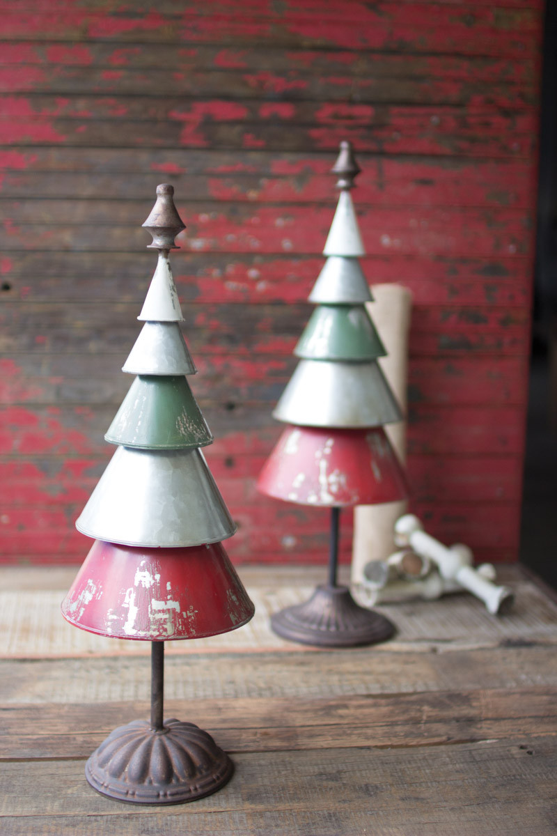 Set Of 2 Galvanized Red Amp Green Metal Trees