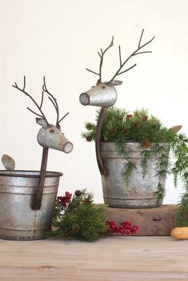 Set of 2 Metal Deer Buckets