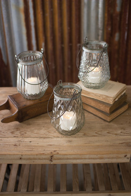 GLASS LANTERNS WITH WIRE HANDLES