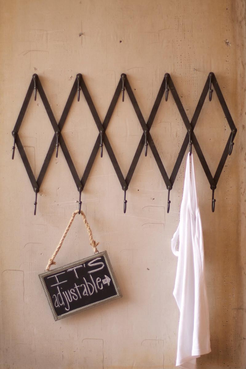 Vintage Inspired Folding Iron Coat Rack Adjustable Iron