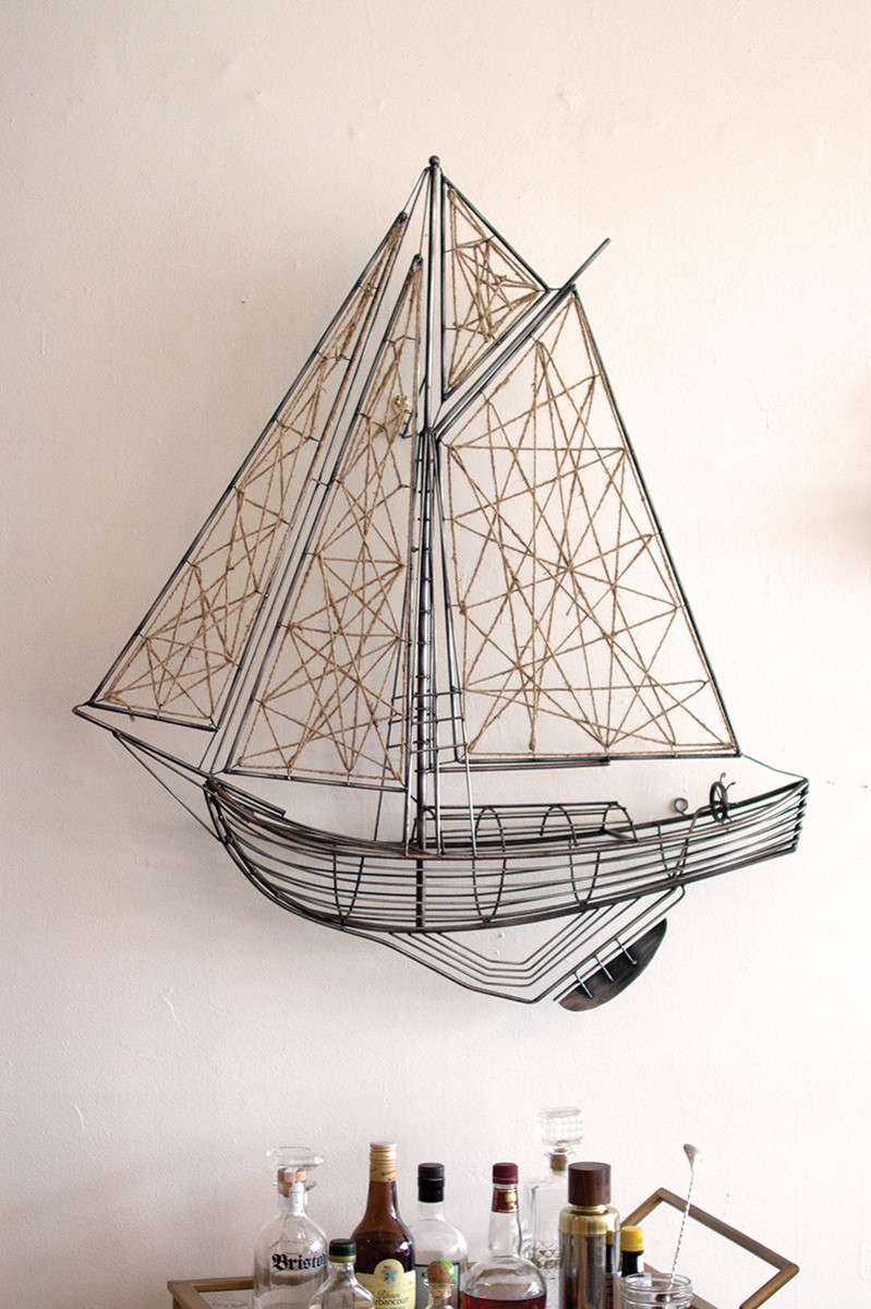 woven metal and jute sailboat sculpture