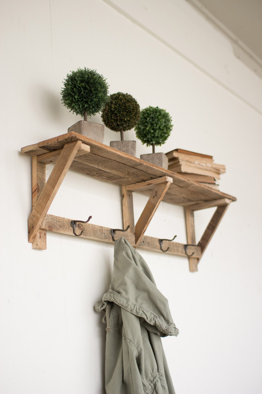 recycled wood shelf with coat hooks