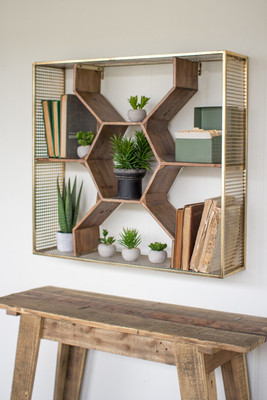 Wooden Honeycomb Shelf with Antique Brass Finish and a Metal Mesh Frame