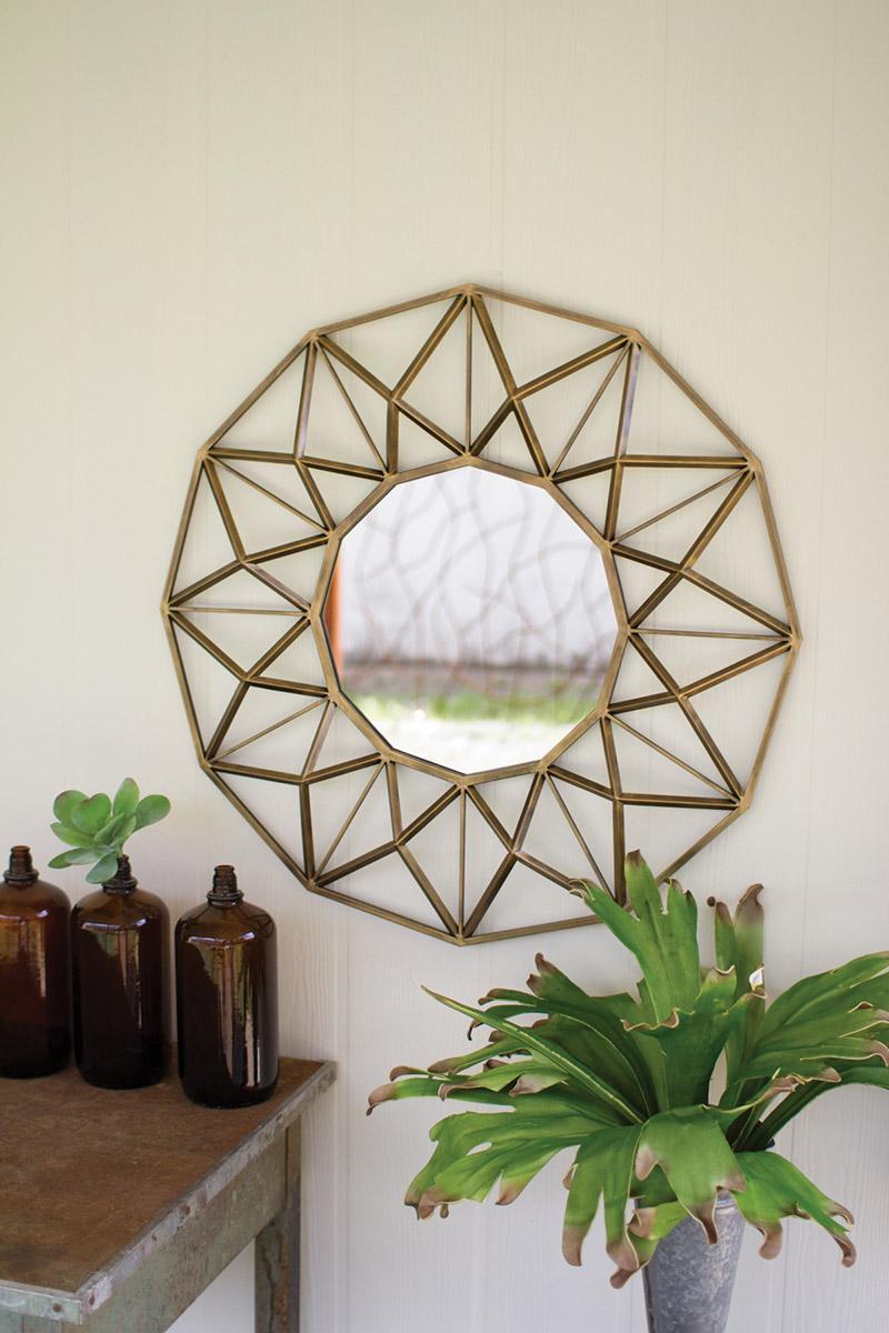 antique gold round metal mirror