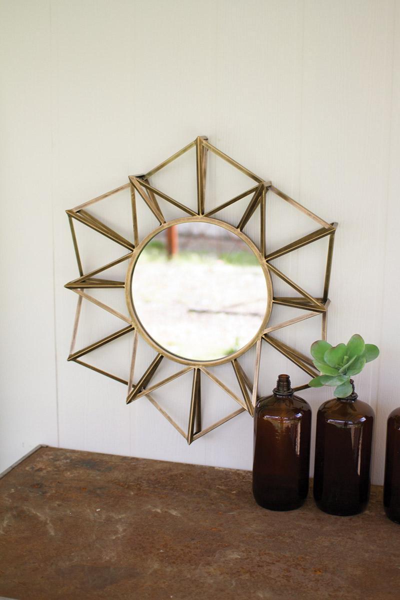 antique gold metal polygon mirror