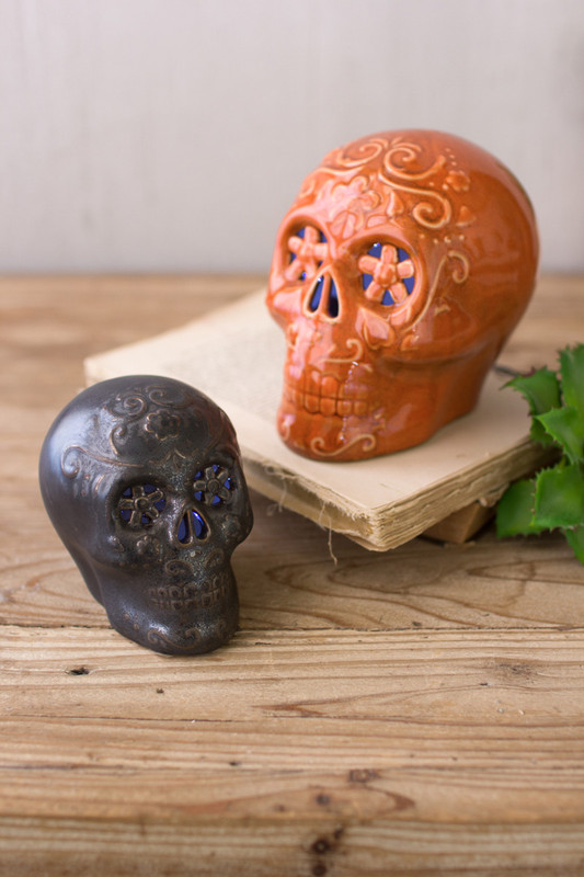 ceramic skulls with led lights
