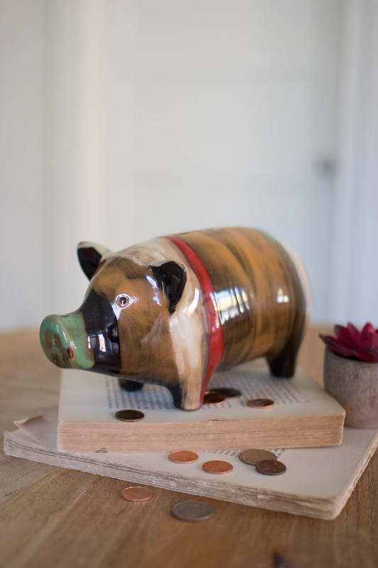 multicolor ceramic piggy bank