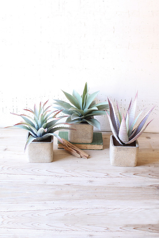 set of 3 large artificial succulents in square pots