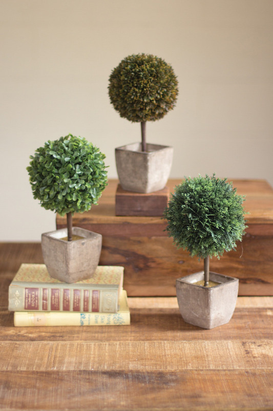 set of three ball top artificial topiaries