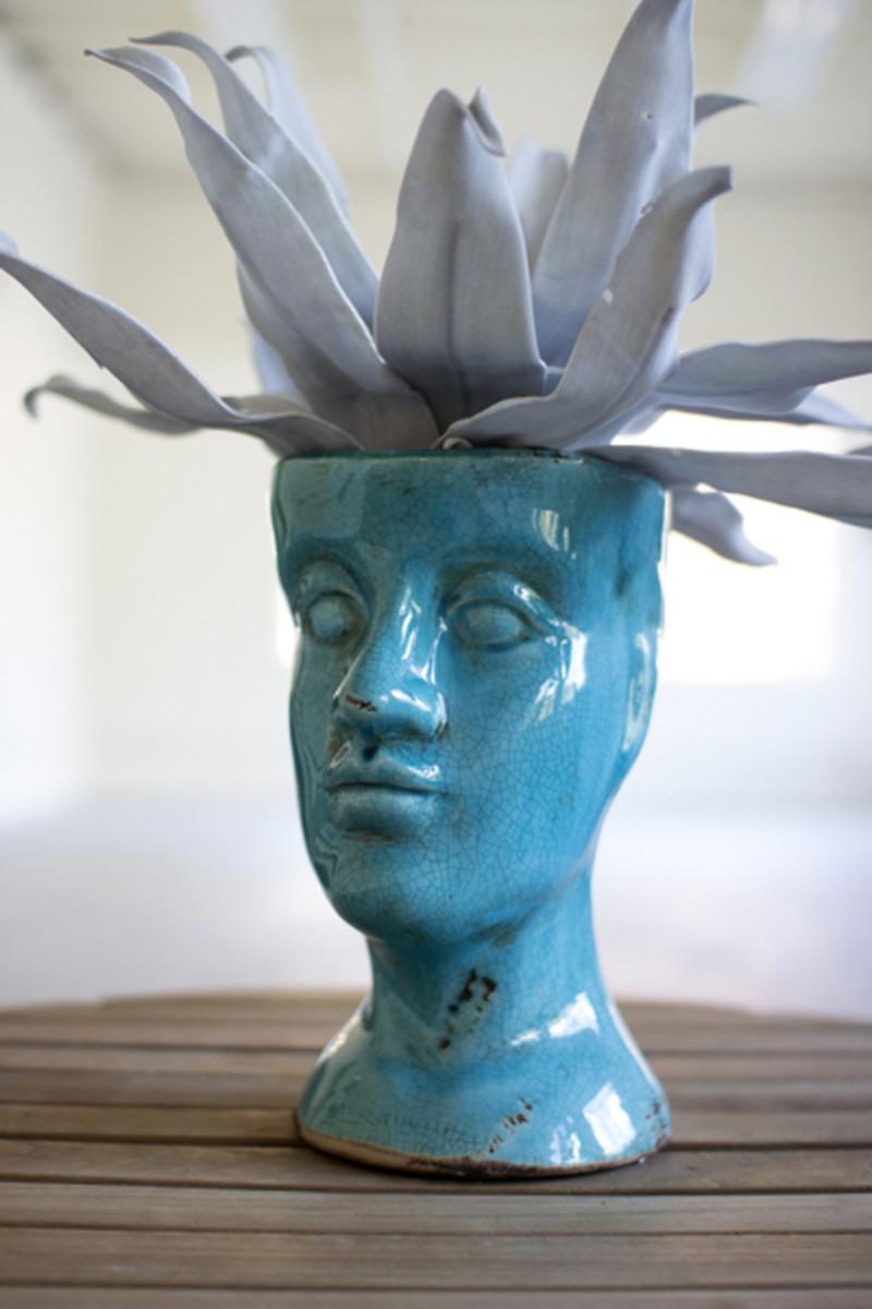 Blue Ceramic Head Vase Human Head Shaped Ceramic Vase