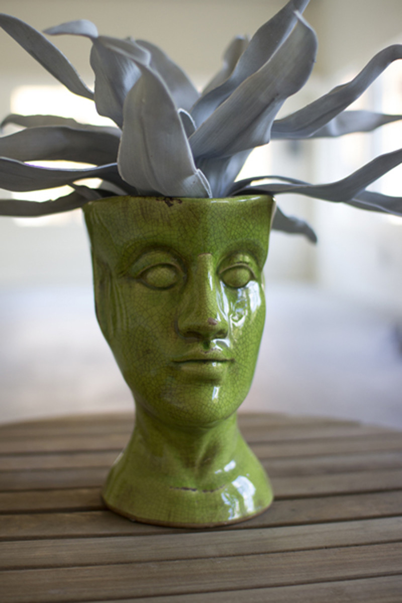 Green Ceramic Head Vase Human Head Shaped Ceramic Vase