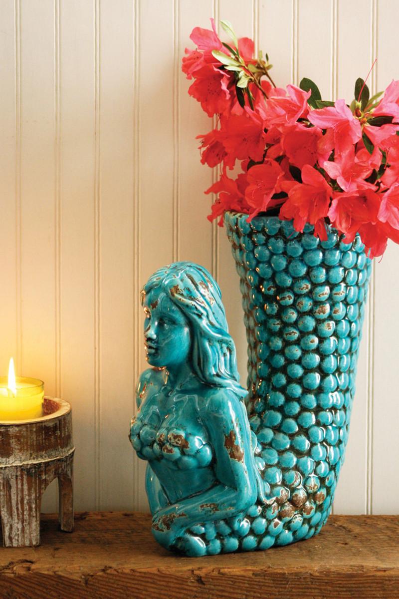 Best Selling Turquoise Ceramic Mermaid Vase