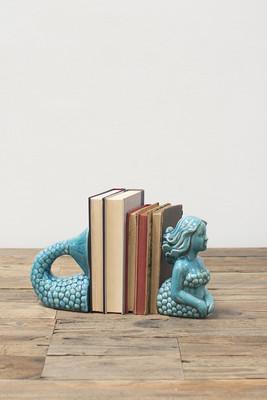 ceramic mermaid bookends - aqua