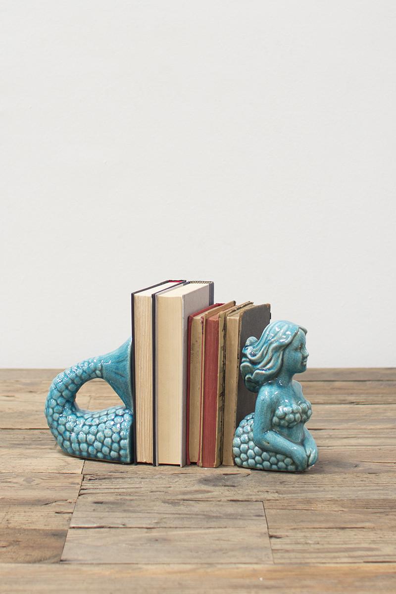 Turquoise Ceramic Mermaid Bookends