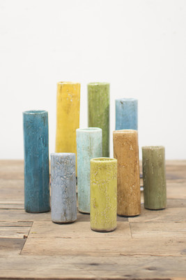 Set of 9 multi-colored ceramic cylinders